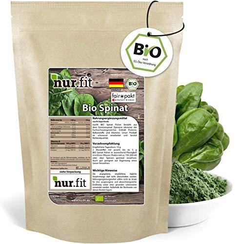 nur.fit by Nurafit BIO Spinat-Pulver 500g – Rohkostqualität und Vegan – Smoothie-Pulver Ergänzung – aus kontrolliert biologischem Anbau in Deutschland – rein natürlich