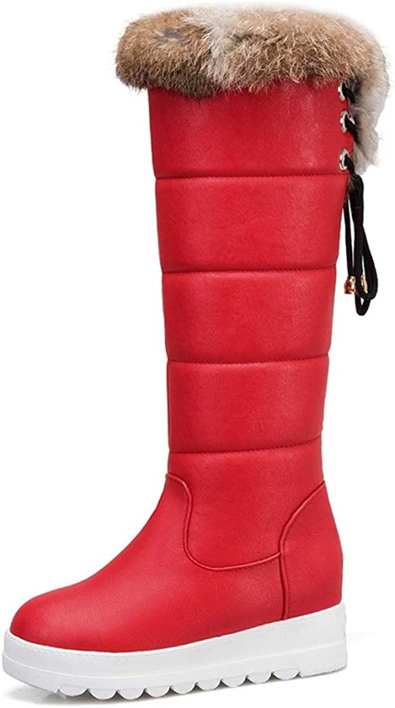 MIOKE Women's Winter Fur Houston Mall Mid Wide Fashion Calf Wedge Boots Snow Genuine
