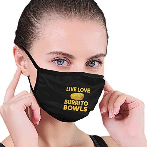 Live Love Burrito Bowls muts, heren, dames, kinderen, jongeren, winddicht, herbruikbaar, oorbeschermers