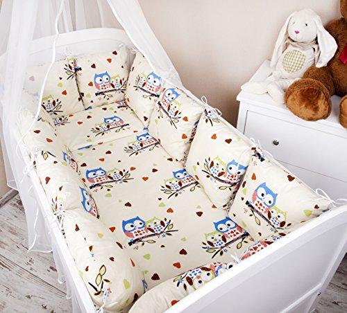 Baby Bettwäsche Design II: Eule ecru/ blau groß Nestchen Bettset 100x135 für Babybett Decke Kissen Bettumrandung