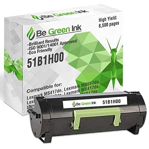 Be Green Ink Compatible Replacement Toner Cartridge for Lexmark MS417 MX417 MS517 MX517 MX617 MS417dn MS517dn MS617dn MX417de MX517de MX617de - 51B1H00 Black Toner (8.5k Yield)