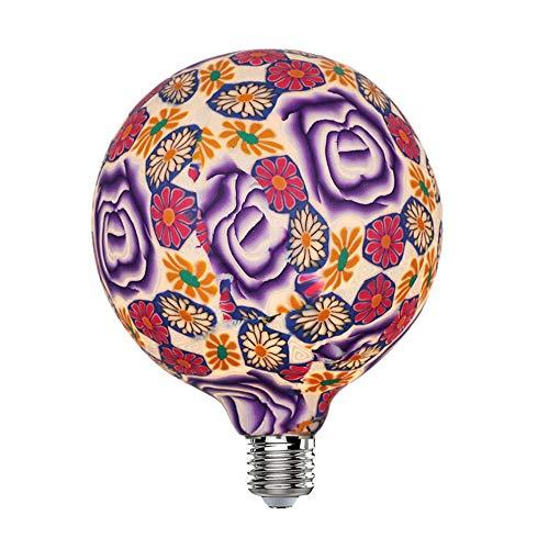 Hobaca LED 4W G125(φ 125mm) Rosa Purpura Bombilla Decorativa Grande Bombillas Led Edison E27 Lamparas Decoracion Navidad 4W equivalente a 25W Blanco Cálido 2700K