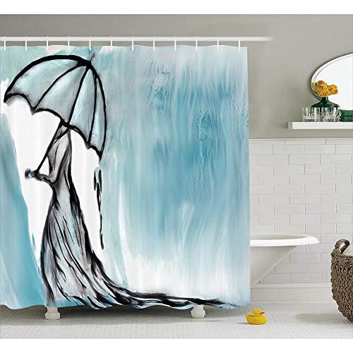 WZMFBH Frau Im Langen Kleid Mit Einem Regenschirm Im Regnerischen Bild, Stoffbadezimmerdekoration