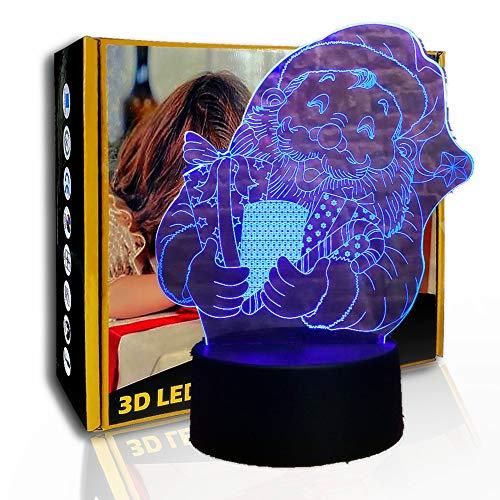 JINYI Luz de noche LED de Santa Claus de dibujos animados, lámpara de ilusión LED, regalo para bebé, G- Control de Telefonía Móvil, Lámpara infantil, Lámpara de decoración de oficina