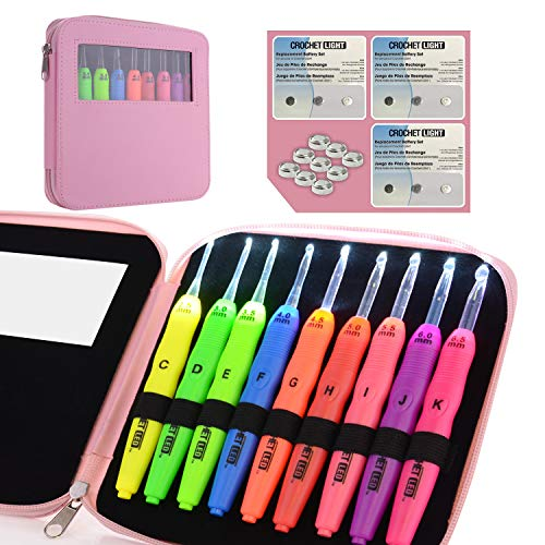 Lighted Crochet Hooks Complete Set Pack 9/ pkg – Light up Crochet Hook Set w/9 Extra Batteries – 9 Light Up Crochet Hooks – Sizes of Led Crochet Hook (2.5mm to 6.5mm)(Pink)
