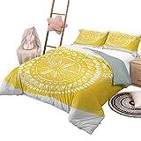 Juego de edredón de 3 Piezas Funda de edredón Estampada Amarilla Triángulo Abstracto Patrones geométricos sombreados con Motivos de ilustración de Mosaico Moderno Tamaño Completo Amarillo