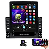 Hikity Double Din Android Car Stereo Tesla Style Vertical 9.7 Inch Touchscreen Bluetooth FM Radio Support WiFi Connect Mirror Link for Android/iOS Phone + Dual USB Input & 4 LEDs Backup Camera