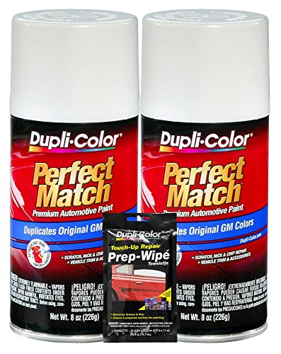 Dupli-Color Olympic White Exact-Match Automotive Paint for GM Vehicles - 8 oz, Bundles with Prep Wipe (3 Items)