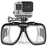 OCTOMASK - Dive Mask w/Mount for All GoPro Hero Cameras for Scuba Diving, Snorkeling, Freediving (Clear)