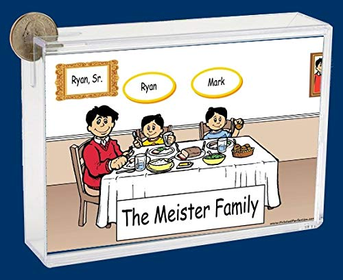 Personalized NTT Cartoon Caricature Bank: Family Dinner Single Dad 2 Girls