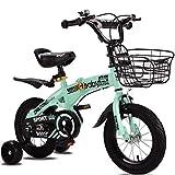 Bicicleta plegable de Kid, ultraligero Niños de bicicletas, bicicletas ajustables infantil, Asamblea de conexión rápida de bicicleta de los niños, con la cesta y de ruedas de entrenamiento,Green,12 inch