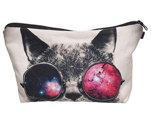 Modische Kulturtasche Kosmetikbeutel Schminktasche Make-Up Bag Kulturbeutel Wasserabweisend Originelle Print-Motive für Reisen, Urlaub und Alltag (Funky Cat)