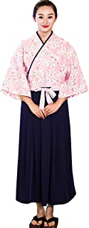 Sushi Waitress Uniform Pink Sakura 3/4 Sleeve Restaurant Japanese Kimono Kitchen Work Coat