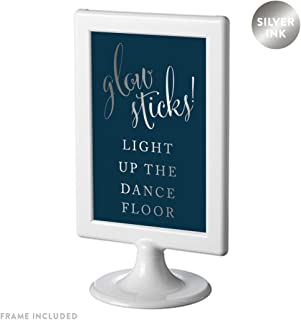 Andaz Press Framed Wedding Party Signs, Metallic Silver Ink on Navy Blue, 4x6-inch, Glow Sticks Light Up the Dance Floor, 1-Pack
