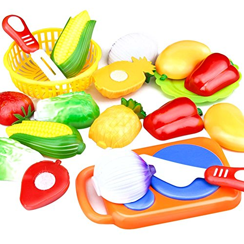 Wildlead Lot de 12 enfants de cuisine jouet en plastique Fruits Légumes Nourriture de coupe Pretend Play Early Educational enfants Jouets