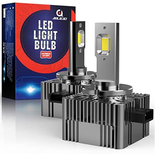 AOLEAD Bombillas D1S LED para Coche, 35W 10000LM LED Lámpara de Faro Cuadrado, Bombillas D1S Xenón de Repuesto,6000K Blanca,DC 12V