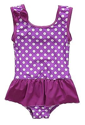 BeautyIn Kids Swim Suit Baby Girls Cute Dots All in One Swimwear, Purple, 6-12 Months