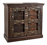 SIT-Möbel Almirah 5109-30 koloniale Kommode, 2 Türen, recyceltes Holz, Metallapplikationen, 100x45x90 cm