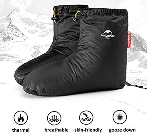 Earth Radius Ultralight Goose Down Booties Slippers Warm Soft Cozy Water-Resistant for Camping Backpacking Indoor Down Filled Slipper Boots with Storage Bag(M)