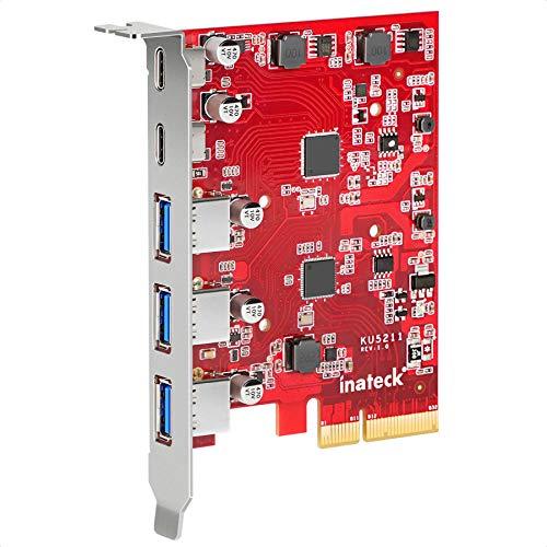 Inateck Tarjeta PCIe a USB 3.2 Gen 2 con 20 Gbps de Ancho de Banda, 3 Puertos USB Tipo A y 2 Puertos USB Tipo C, KU5211, Rojo