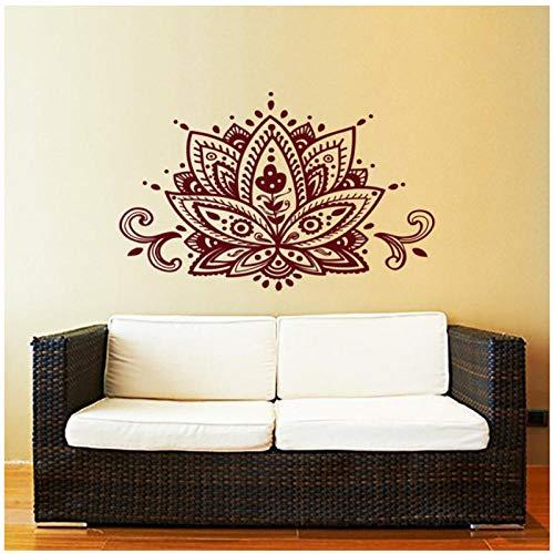 kldfig Lotus Bloem Muurtattoo Yoga Studio Vinyl Stickers Mandala Ornament Marokkaans patroon Wooncultuur Boho Bohemia 56 * 56cm