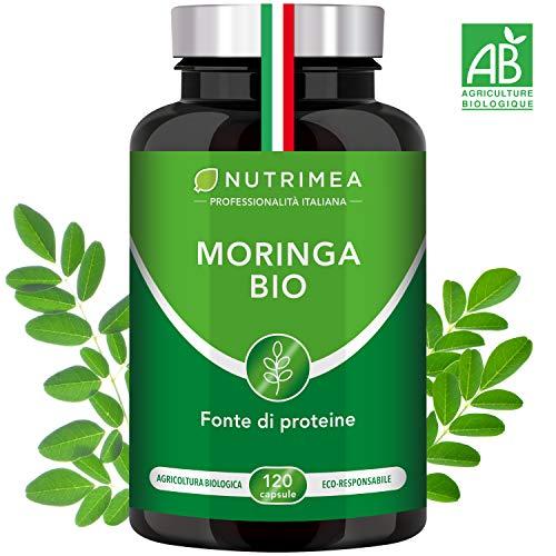 Moringa Biologica • Moringa Oleifera 120 Capsule 400mg • Vitamine Antiossidanti Proteine • Colesterolo Fonte di Energia • Trattamento 4 Mesi • Capsule Vegane Origine Vegetale