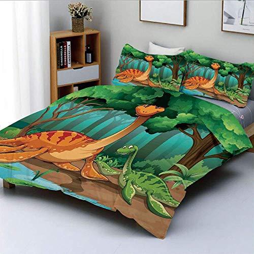 Qoqon Bettbezug-Set, Dinosaurier in einem Tropenwald Jurassic Dino Cartoon Kinder Kunsthandwerk Thema Druck dekorativDekorativ 3-teiliges Bettwäscheset mit 2 Kissen Sham, K.