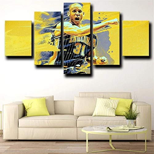 13Tdfc Quadro 5 Pezzi Stampa su Tela in TNT XXL Immagini Moderni Murale Fotografia Grafica Decor Parete 150X80Cmsquadra di Basket NBA Guard Knick Killer Reggie Miller Giallo Regalo Creativo