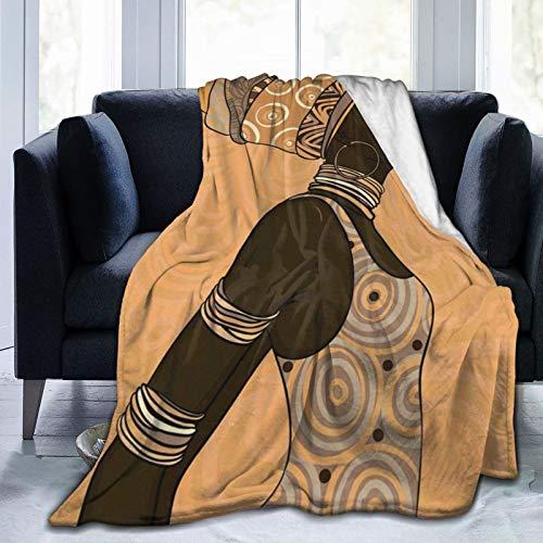TOBEEY Manta acogedora de franela de forro polar para todas las estaciones, preciosa manta de microfibra mullida para el hogar para sala de estar (mujer afroamericana, 152 x 201 cm)