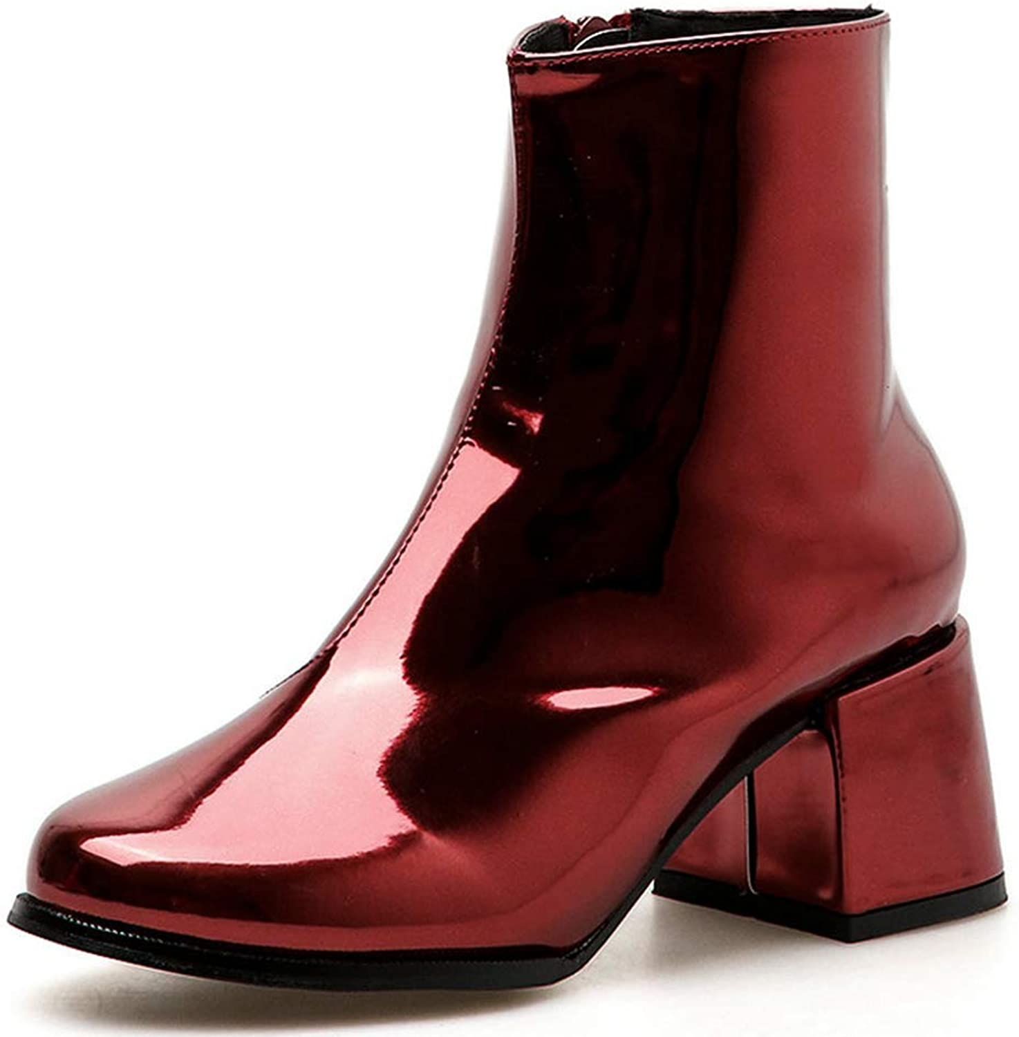 Women Winter Ankle Boots Patent Leather Sexy Round Toe High Heels Short Square Heel Martin Booties
