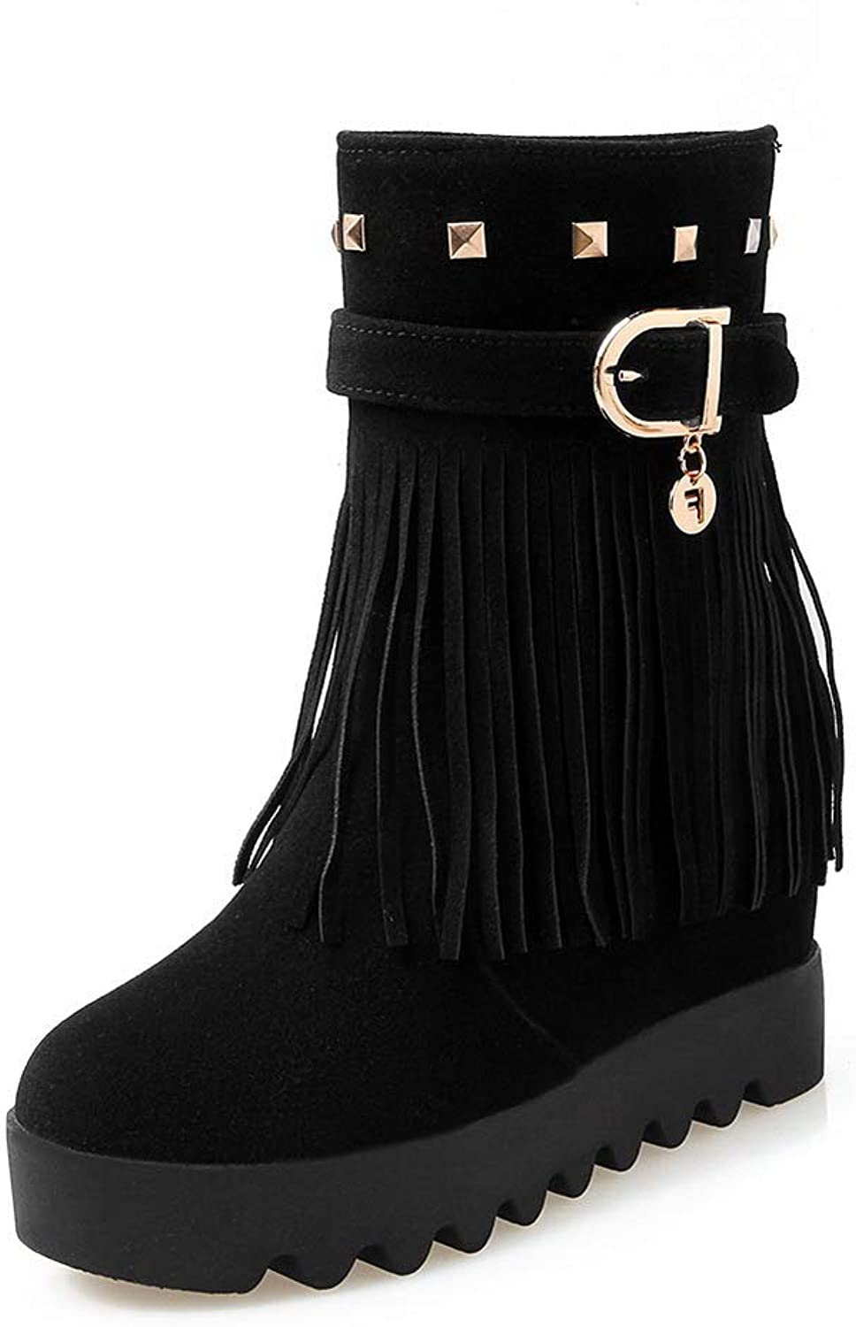 BalaMasa Womens Metal Buckles Grommets Tassels Imitated Suede Boots ABL11091