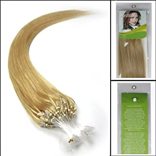 100s 16'' 18'' 20'' 22'' 24'' 26'' Loops Micro Rings Beads Tipped Remy Human Hair Extensions Straight 10 Colors in Women Beauty Style (20inch 0.5g/s 100s each pake, 24 golden blonde)