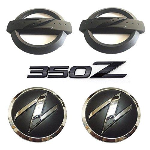 New REPLACEMENT Metal 350Z Badge Kits Car Body Front Rear Fender Black Emblems Badges Stickers for NISSAN 350Z Fairlady Z33 Emblems Badges