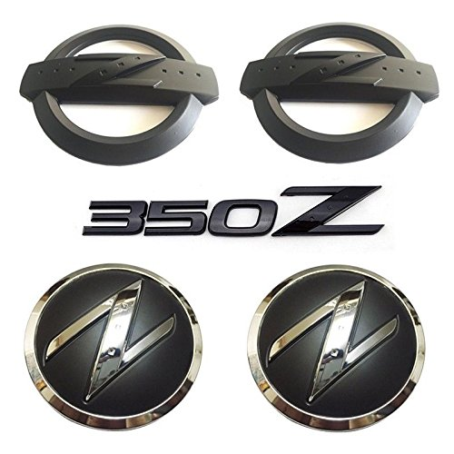 New REPLACEMENT Metal 350Z Badge Kits Car Body Front Rear Fender Black Emblems Badges Stickers for