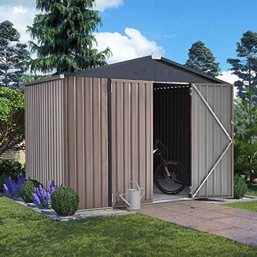 U-MAX 8' x 6' Outdoor Metal Storage Shed, Steel Garden Shed with Double Lockable Doors, Tool Storage Shed for Backyard, Patio, Lawn