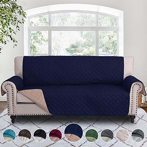 RHF Reversible Sofa Cover, Couch Covers for 3 Cushion Couch, Couch Covers for Sofa, Couch Cover, Sofa Covers for Living Room,Couch Covers for Dogs, Sofa Slipcover, Couch Protector (Sofa: Navy/Sand)
