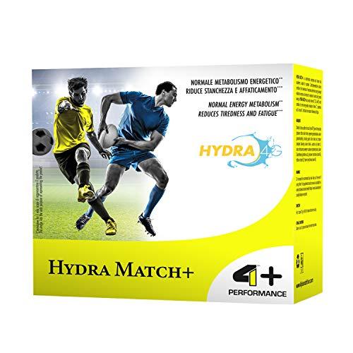 4+ NUTRITION - Hydra Match+, Integratore Sportivo, Carboidrati ed Elettroliti, Aiuta a Ritrovare la Giusta Idratazione, Gusto Orange, 20 Buste