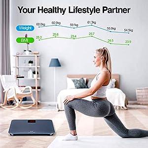 Personenwaagedigital BMI Körperwaage Gewichtswaage mit LED Display und Step-On-Technologie, Smartphone-App, Sicherheitsglas und 5-180kg, Grau