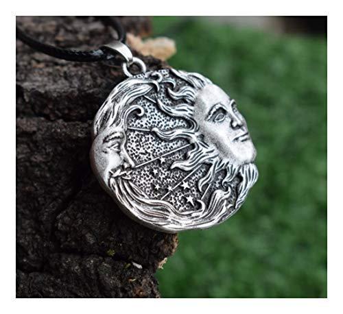 1pcs Sol y la Luna y Las Estrellas Collar Amuleto (Color : 55cm, Size : Antique Silver Plated)