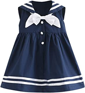 YWLINK Girls Cute Clothing Sleeveless Navy Bowknot Lapels Party Princess Dresses With Button