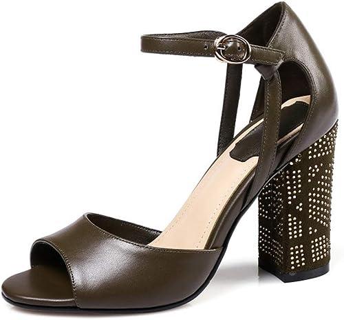 WHL.LL Aux femmes femmes Fond épais Sandales à talons Strass brillant Sangle de cheville Boucle Talon haut Des sandales Confortable Lisse Des sandales (Hauteur du talon  9cm)  livraison gratuite!