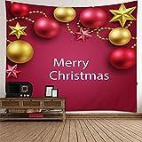 Aimsie - Tapiz de pared (poliéster, 210 x 140 cm), diseño de árbol de Navidad, color rojo y amarillo