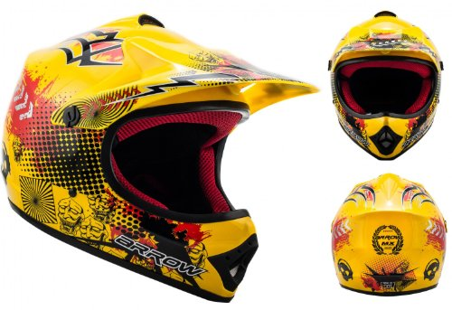 "ARMOR · AKC-49 ""Yellow"" (Gelb) · Kinder-Cross Helm · Enduro Kinder Off-Road Sport Motorrad Moto-Cross · DOT certified · Click-n-Secure™ Clip · Tragetasche · S (53-54cm)"