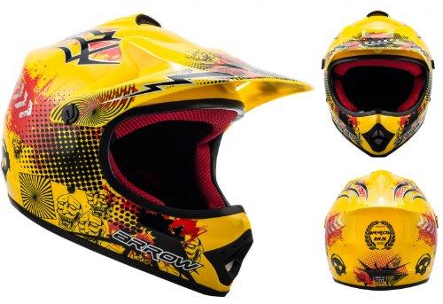 ARMOR Helmets AKC-49 Kinder-Cross-Helm, Schnellverschluss Tasche, S (53-54cm), Gelb