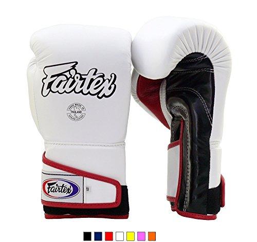 Fairtex Muay Thai Boxing Gloves BGV6 White Black Red 16 oz Training & Sparring Gloves for Kick Boxing MMA K1