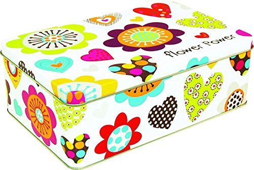 Incidence Paris 54763 Boite Metal-Flower Power, Multicolore, 20x13x7 cm