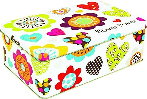 Incidence Paris 54763 Boite Metal-Flower Power, Multicolore, 20x13x7 cm