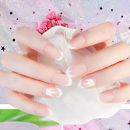 24 Stück Falsche Nägel Kurz Glitter Künstliche Nägel Pink Weiß Vollständige Abdeckung Gefälschte Nägel Natürlich Fake Nails Zum Aufkleben Natur Runde Fake Nails Mit für Damen und Frauen