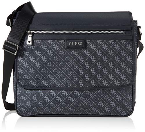 Guess Dan Logo Messenger, Bags Briefcase Hombre, Negro, Talla Única