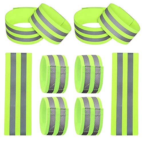 Vegena Bandas Reflectantes Elásticas, Set de 10 Ajustable Brazalete Alta Visibilidad Correr y Aire Libre Ciclismo Cinturón de Seguridad Reflectante para Adultos y Niños, 35x5cm